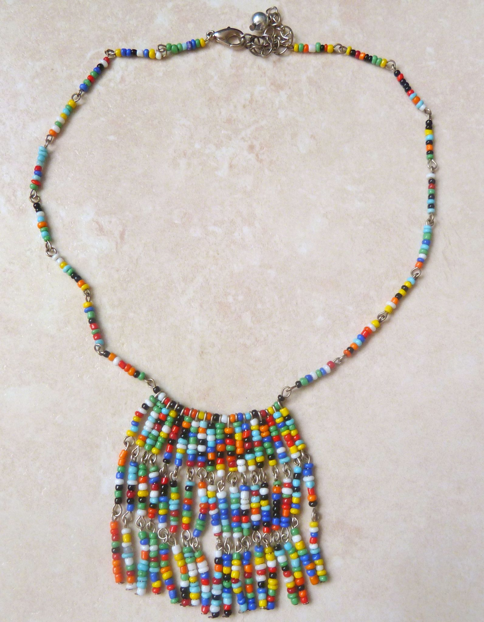 Boho Vibrant Seed Bead Fringe Drop Adjustable Length Necklace