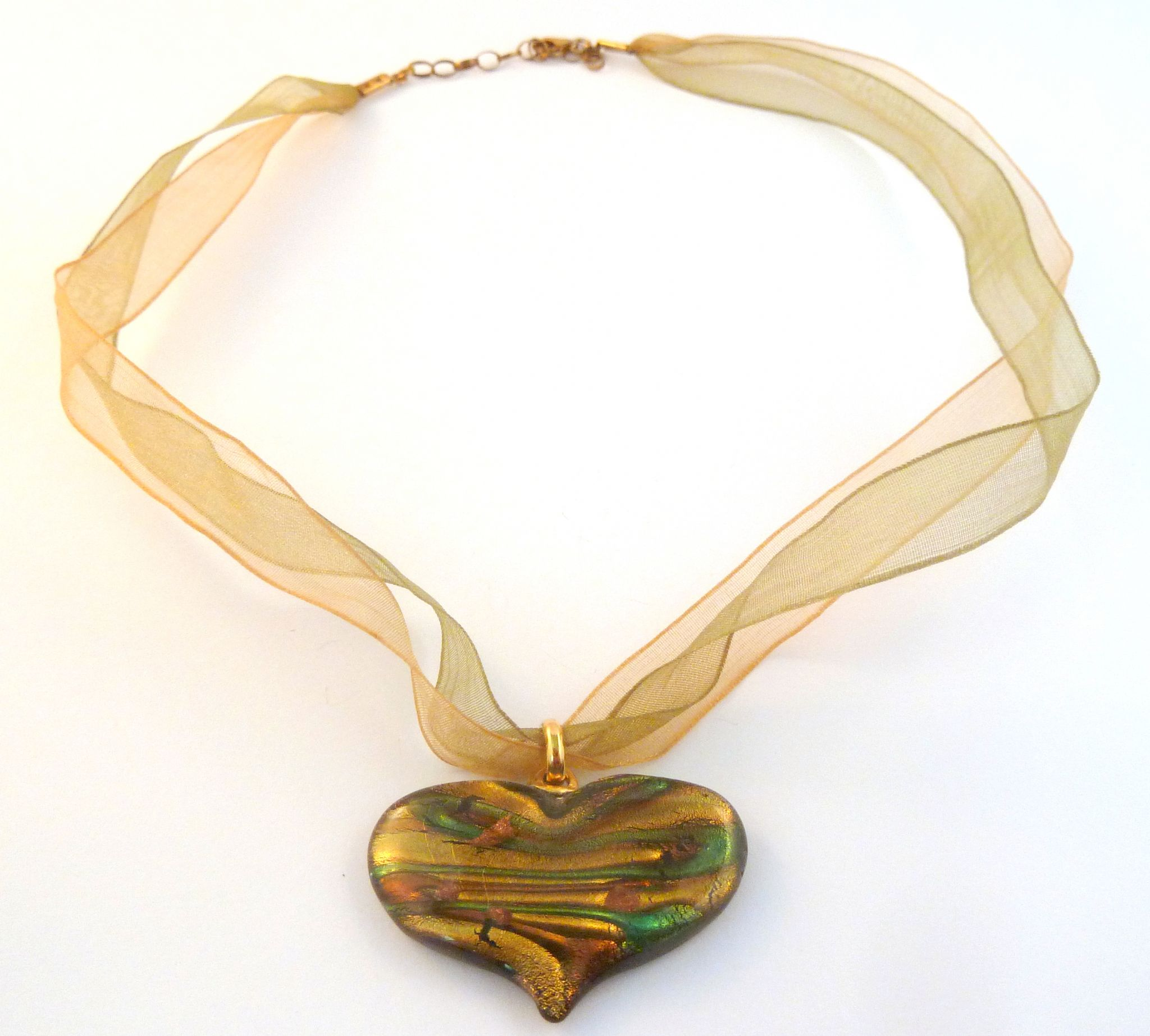 Murano glass heart pendant gold on sterling silver ribbon necklace mozeypictures Choice Image
