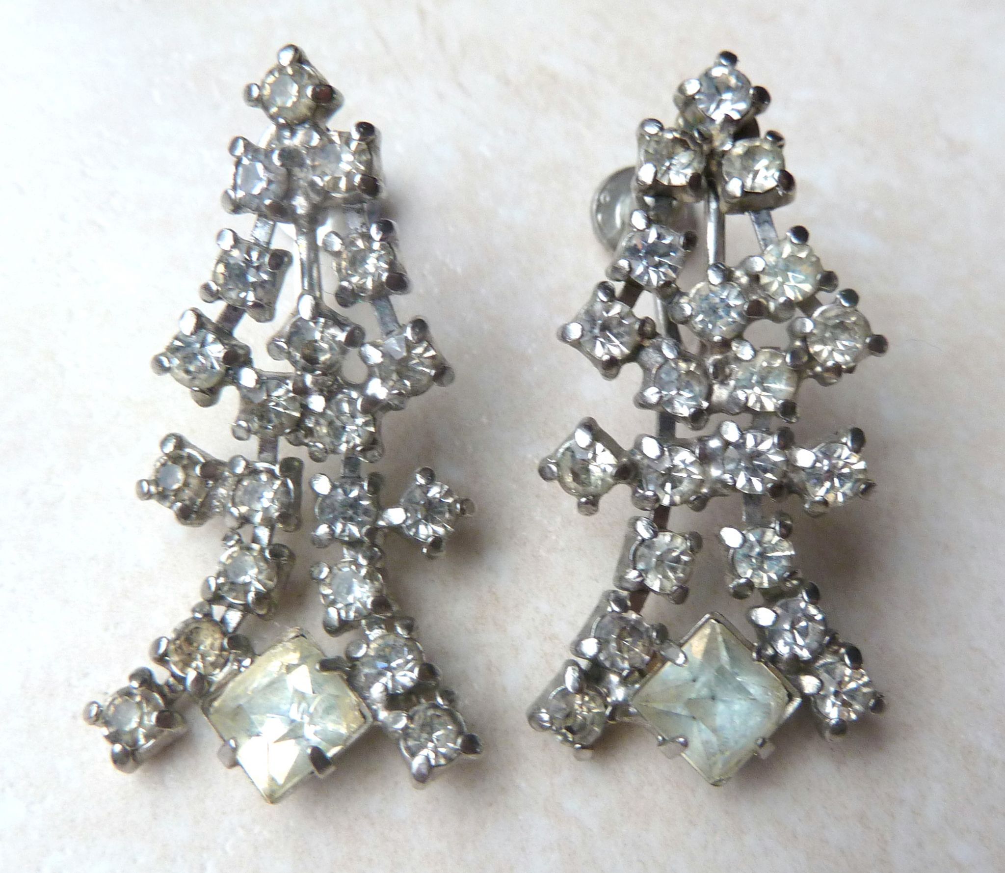 Vintage Art Deco Style Rhinestone Drop Screw Back Earrings