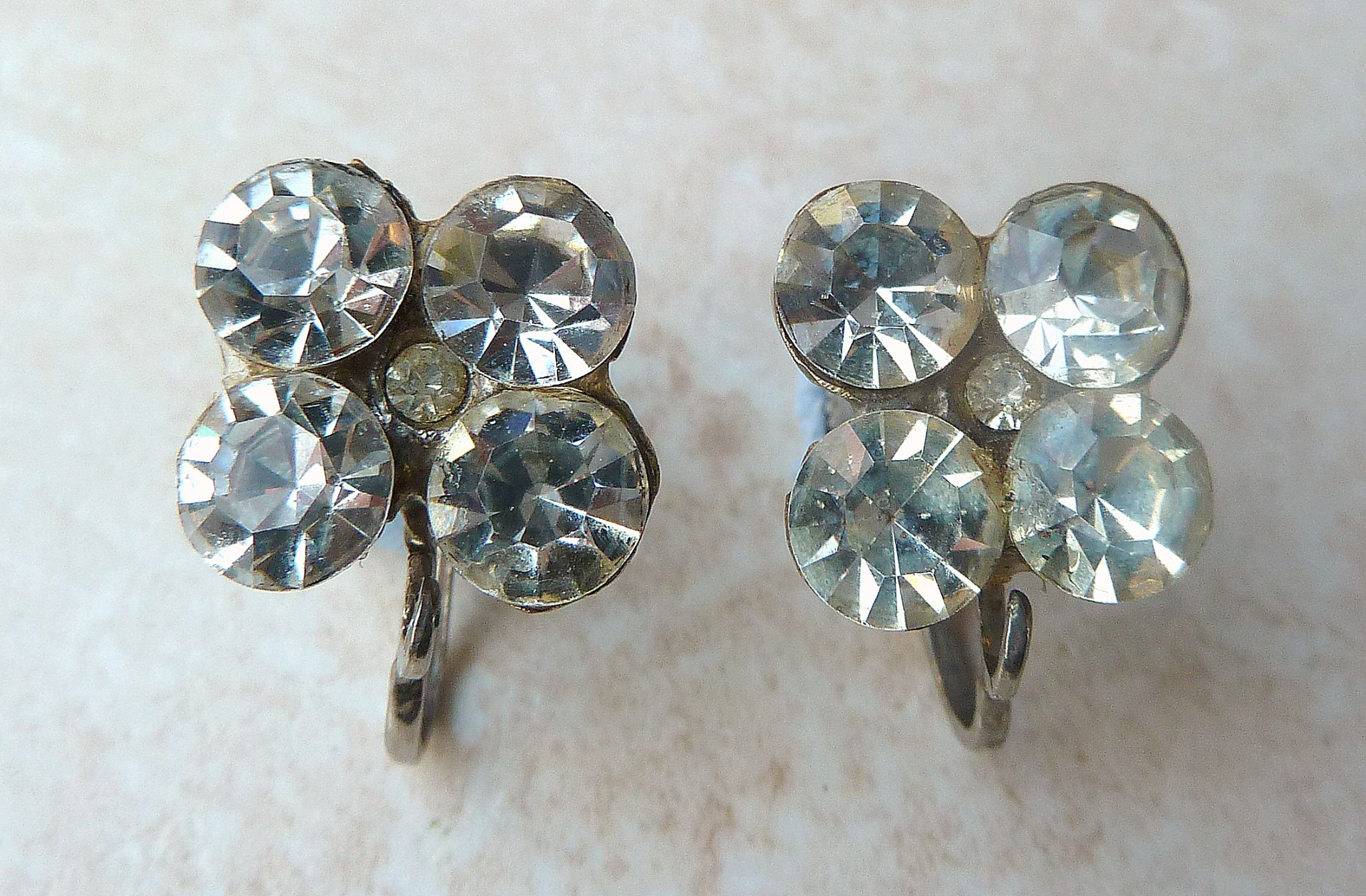 Vintage Art Deco Style Rhinestone Screw Back Earrings