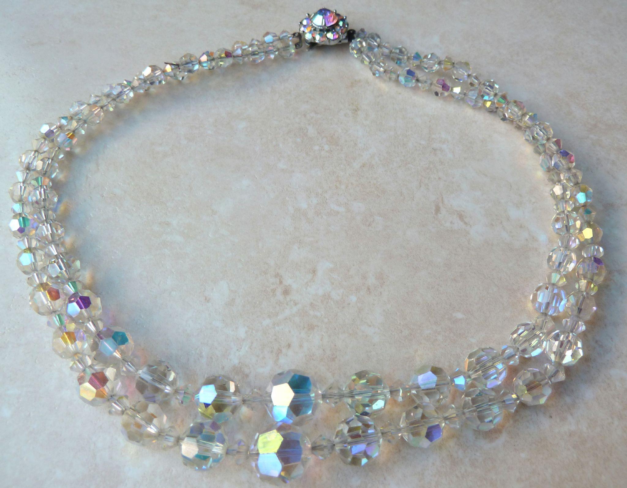 Vintage Aurora Borealis Faceted Crystal Double Stranded
