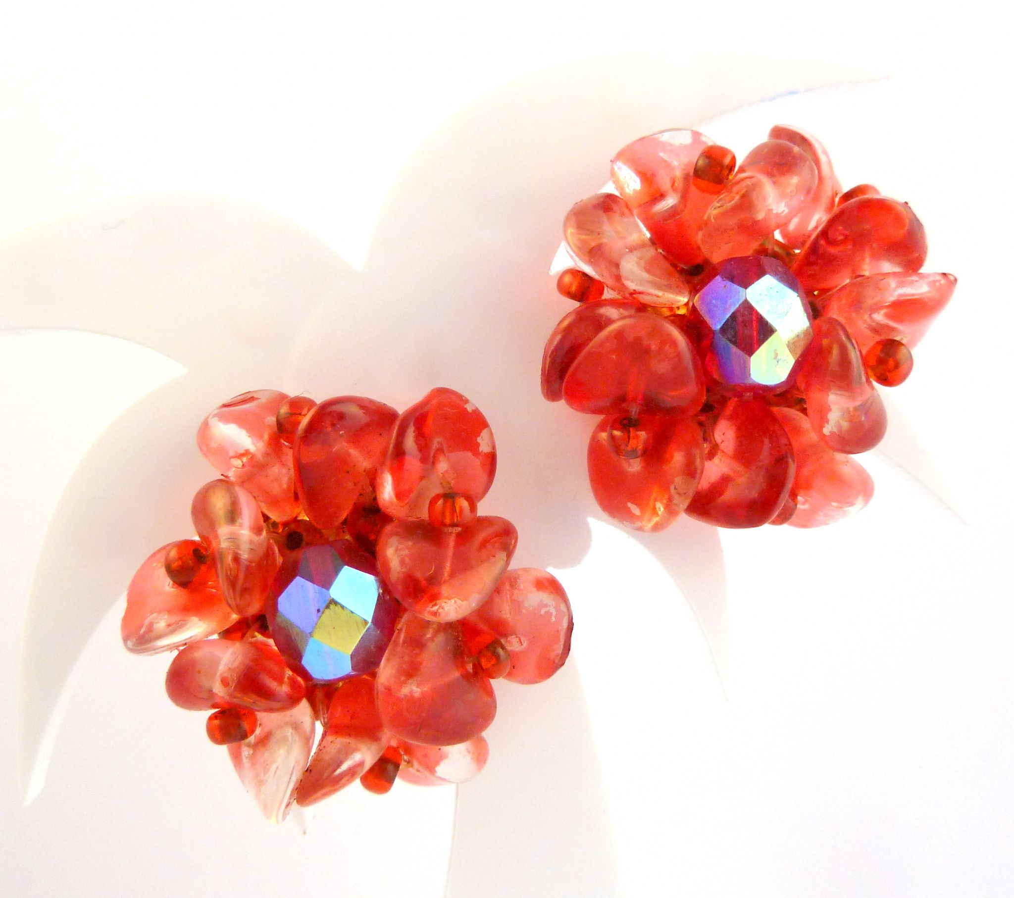 Vintage Red Cer Bead Clip On Earrings