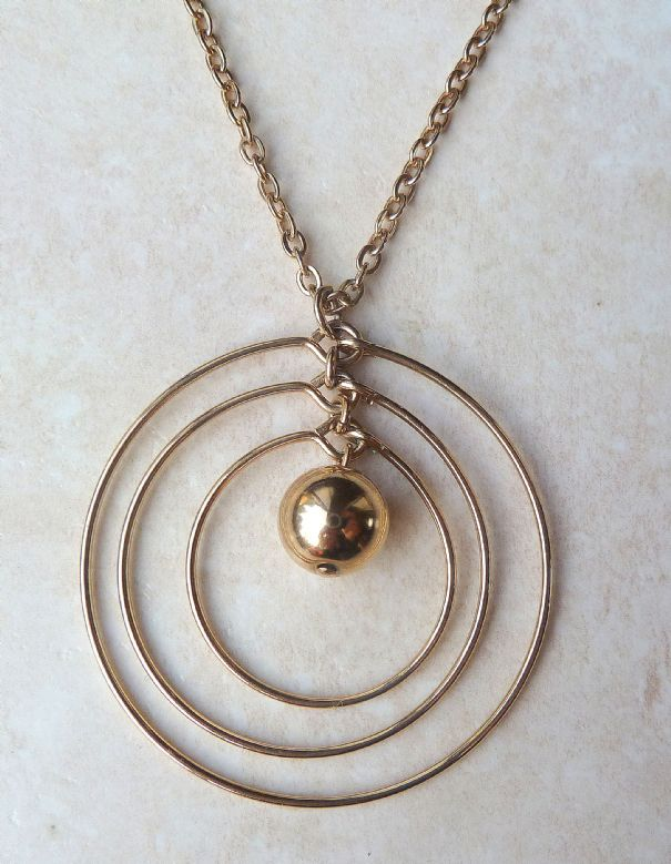 Vintage sarah coventry triple circle necklace aloadofball