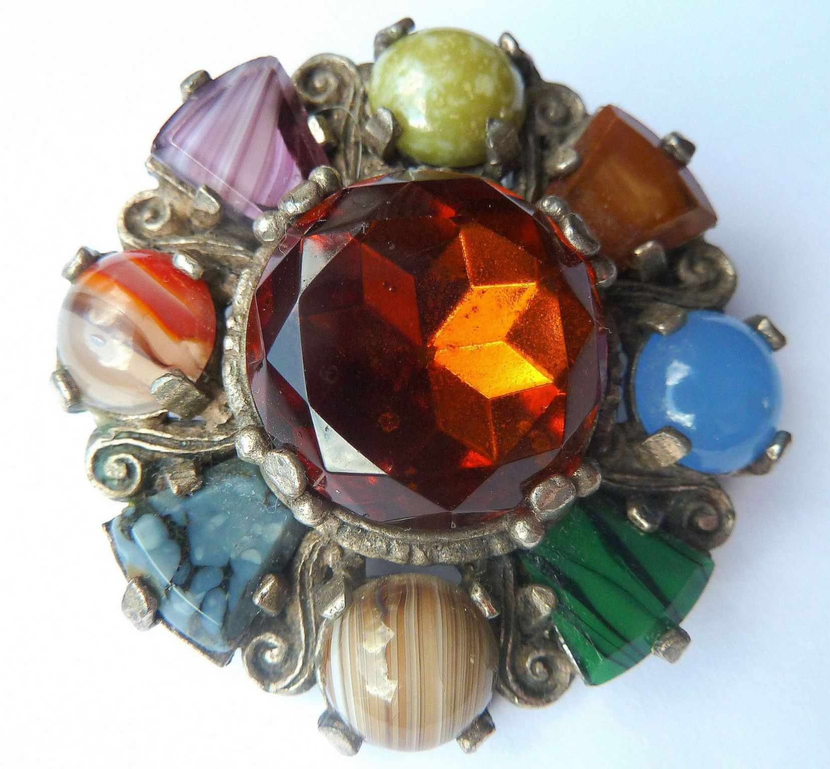 Vintage Scottish Cairngorm Style Shield Brooch By Miracle
