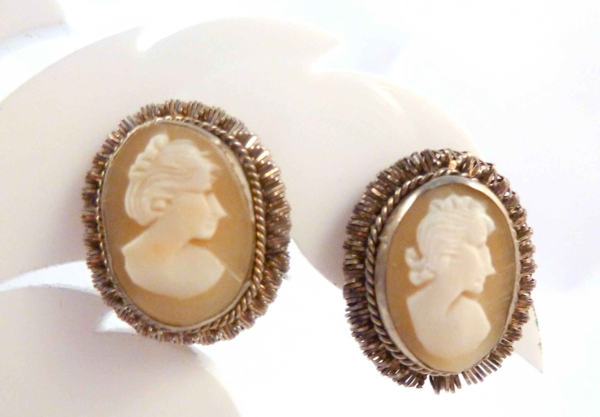 3ff7a22a9c364 Vintage Silver Carved Cameo Clip On Earrings.